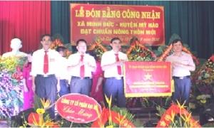 Xã Minh Đức đón Bằng công nhận đạt chuẩn nông thôn mới